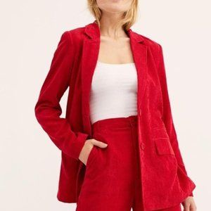 Free People Lost+Wander Portia Oversize Red Blazer